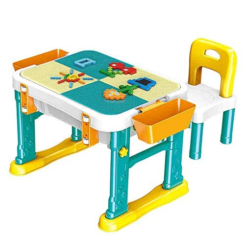 Shenghua1979 Building Table 1-6 Years Old Puzzle Blocks Assembling Toys Children's Wooden Multi-Function Color Yellow Size 49x65x50cm