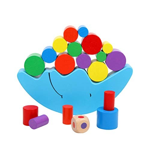 TENDYCOCO Balancing Moon Blocks Stacking Sorting Boat Toy Wooden Colorful Building Block Game Learning Gift for Kindergarten