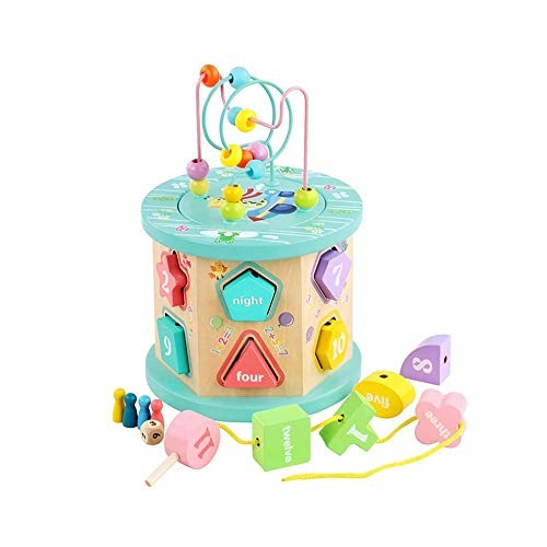 SYxx Children's Educational Toys 12-Hole Early Education Beading Building Blocks Wooden with Solid Geometric Shapes Intelligence Box