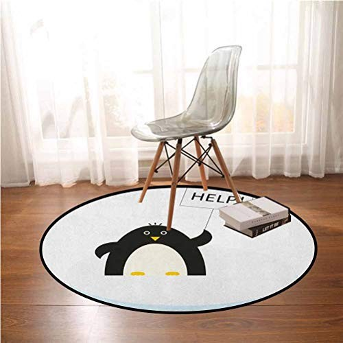 Cartoon Round Non-Slip Kids Carpet Arctic Animals Theme Penguin on an Ice Block Needs Help Illustration 45ft Playing mats in Bedroom Living Room