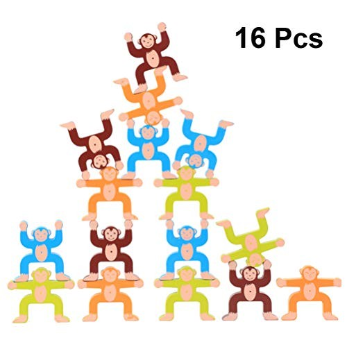 Tomaibaby Wooden Balancing Blocks Monkey Shaped Stacking Toy Building Game Early Educational Sorting 3D Puzzle Home Decor Party Favors 16pcs