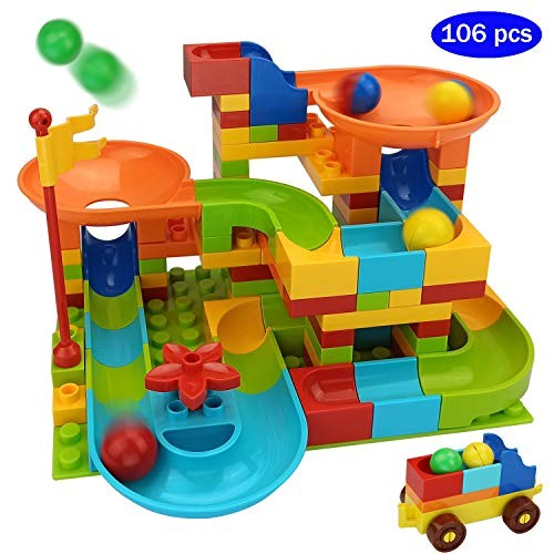 COUOMOxA Marble Run Building Blocks Classic Big STEM Toy Bricks Set Kids Race Track Compatible with All Major Brands 106 PCS Various Models for Aged 34568