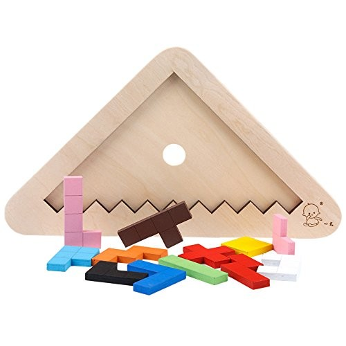 Miklan Wooden Rainbow Blocks Puzzle Toy Stacking Stacker Building Preschool Learing Educational Toys Geometry Creative Puzzles Gift