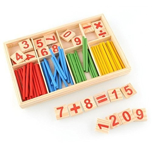 xlpace Wooden Educational Toys Counting Stick Digital Building Blocks Hobbies Teach Beginners Mathematical Intelligence Game