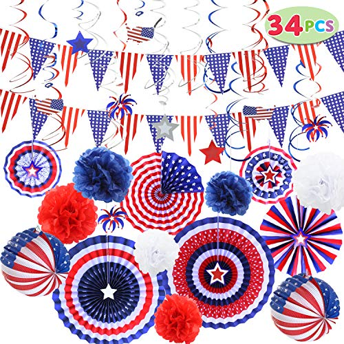 JOYIN 34 Pcs Patriotic Party Supplies 6 Paper Fan Flower Ball 2 Flag 18 Swirl Streamer Triangle Garland for 4th of July Independence Day Memorial Veterans Decor