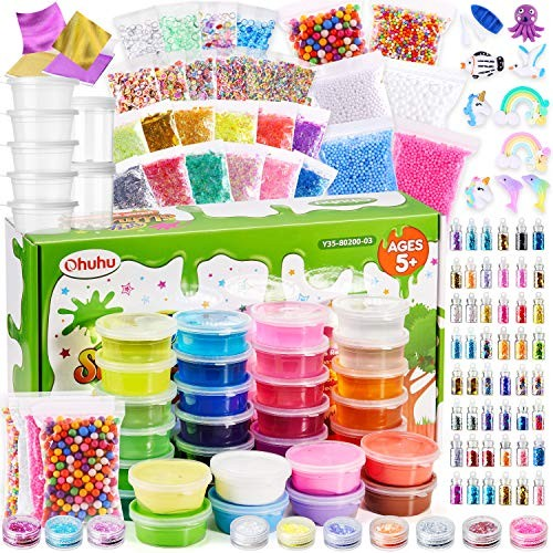 Ohuhu 65 Pack DIY Crystal Clay Slime Kit for Making with 24 8 Light Clays Glitter Slice Foam Balls Sprinkles Bead Sugar Paper Container + 108 Sli