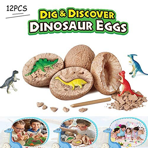 BLLKE 12 pcs 1set Dinosaur Toys Dino Egg Dig Kit Educational Toy Models Archaeology Science Fun for 3 Years of Age or Older Boys & Girls Best Easter Gifts