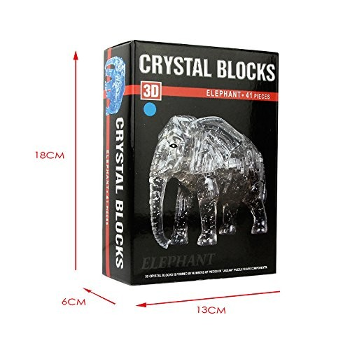 3D Crystal Puzzle Elephant Brain Teaser Game Animal Model DIY Gadget Blocks Building Intelligent Educational Toy Gift for Kids Adults