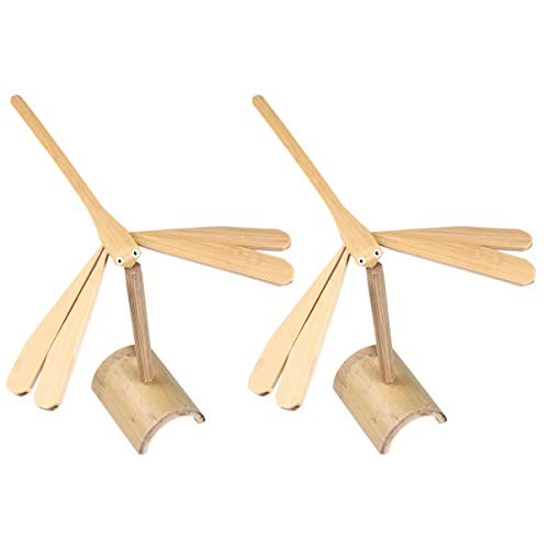 Tomaibaby 2PCS Dragonfly Toys Wooden Desk Balance Toy Educational Model