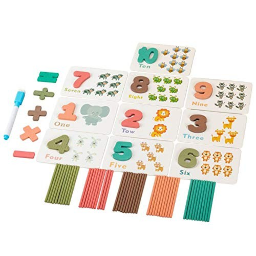 Wooden Counting Stick Teaching Aids Early Education Puzzle Intelligence Toys Kids Upper Case Letters Block Board Chunky Puzzles for Preschool & Kindergarten Toddlers Wood Free