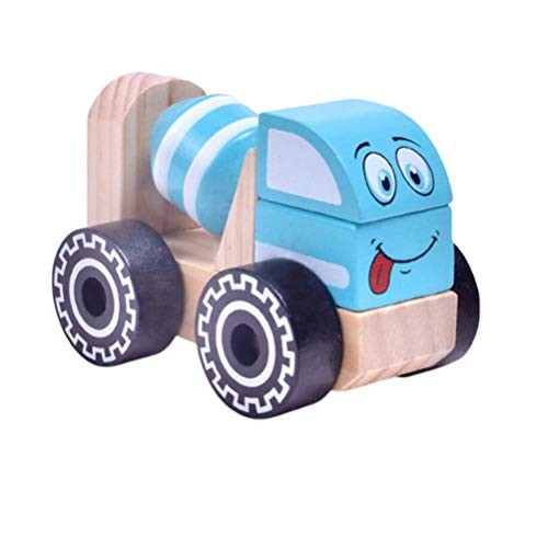 Tomaibaby Engineering Truck Wooden Construction Car Road Roller Models Cake Toppers Play Set Toy for Party Favor Learning Education Cement Truck