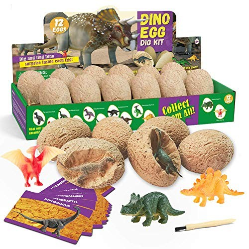 EDIONS Dinosaur Eggs Dig Kit 12pcs Educational Toys Archaeology Party Funny Model Excavation Paleontology DIY Birthday Gift Learning Science for Kids