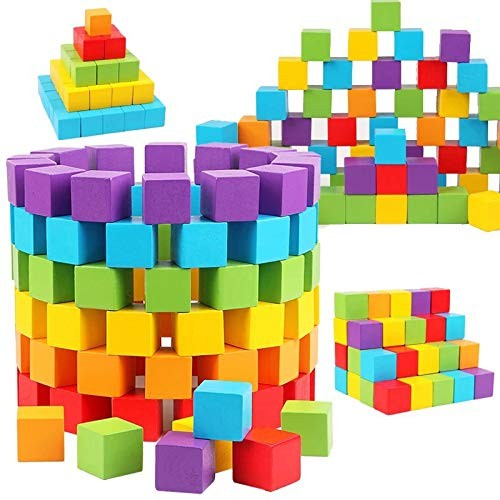 A0ZBZ 100pcs Kids Toys Wooden Color Cubes DIY Craft Art Building Blocks Baby Educational Geometric Shape Square for