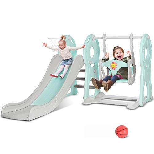 KINGSO Slide and Swing Set for Toddlers 4 in 1 Kids Slide Sturdy Toddler