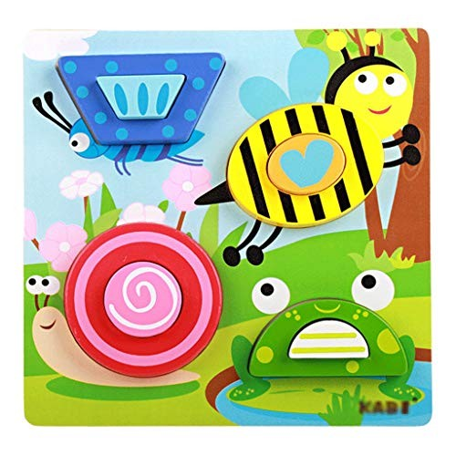 YE ZI Jigsaw Puzzles- Children's 3D Wooden Puzzle Building BlocksStereo Matching Board ToysEducational Toys for Boys and Girls Aged 1-2-3 Big Gift Color Multi-Colored