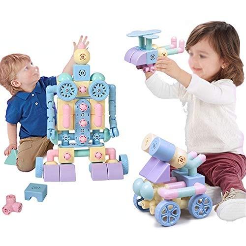 Teerwere Blocks Toys Building Tiles Set Creativity Toy for Preschool 88 PCS Wooden Cube Color Multi-Colored Size 109PCS