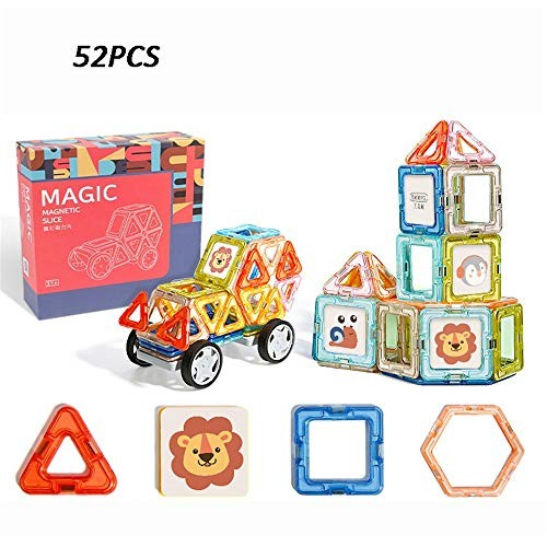 Teerwere Blocks Toys Building Tiles Set Creativity Toy 52 PCS Wooden Cube Color Multi-Colored Size 52PCS