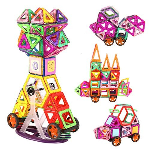 Blocks Toys Building Tiles Set Creativity Toy for Preschool Toddlers 96 PCS Wooden Cube Color Multi-Colored Size 96PCS