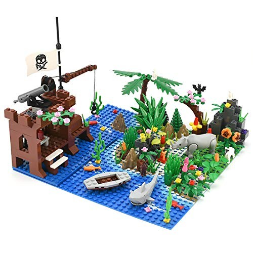 Yamix Pirate Island Building Block Parts Rainforest Plants Trees Flowers Scenery Animals Bricks Toy Set with Base Plates Compatible All Major Brands