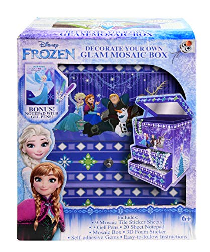 Disney Frozen Mosaic Box with Mirror for Kids – Decorate Your Own Glam Kit Includes Tile Stickers Foam Self-Adhesive Gems Bonus Notepad Gel Pens