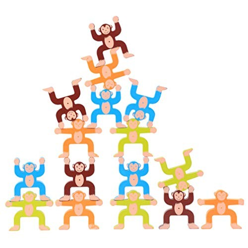 Tomaibaby 16pcs Wooden Stacking Toys Balance Building Blocks Monkey Shape Toy for Children Kids Toddler Education