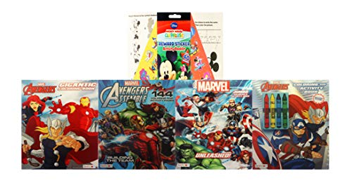 Marvel Avengers Super Coloring Bundle With Crayons Stickers Captain America Thor Hulk Iron Man And A Mickey Mouse Activity Pad Educational Toys Planet