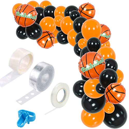 TONIFUL 110 Pieces Basketball Theme Balloon Garland Arch Kit Balloons Decorations Black Orange for Sports Party Baby Shower Birthday Supplies