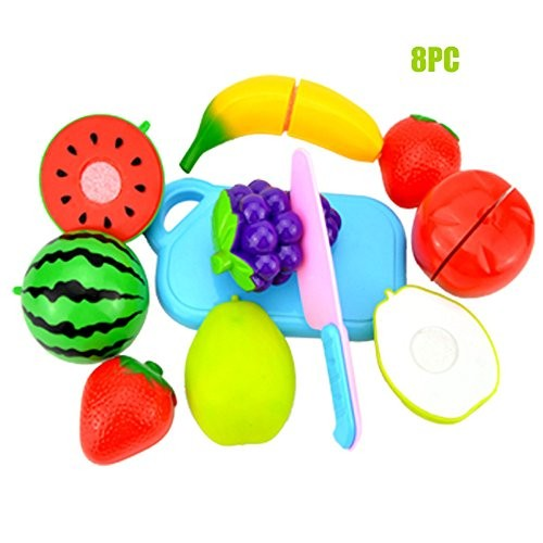 Kids Pretend Kitchen Fruit Vegetable Food Toy Cutting Set Role Play