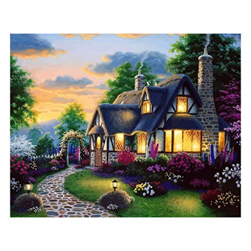 EDTO DIY Painting by Numbers Kit Coloring Numbers-Fairy CottageHand Arts Crafts for Home Living Room Office Creative Decoration Gifts Without Frame