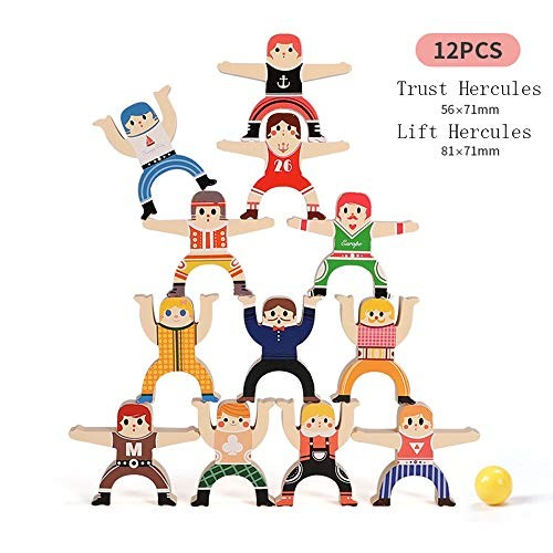 Wooden Stacking Games Hercules Acrobatic Troupe Interlock Toys Balancing Blocks Toddler Educational for Infants Adults 12 Pieces Hercules