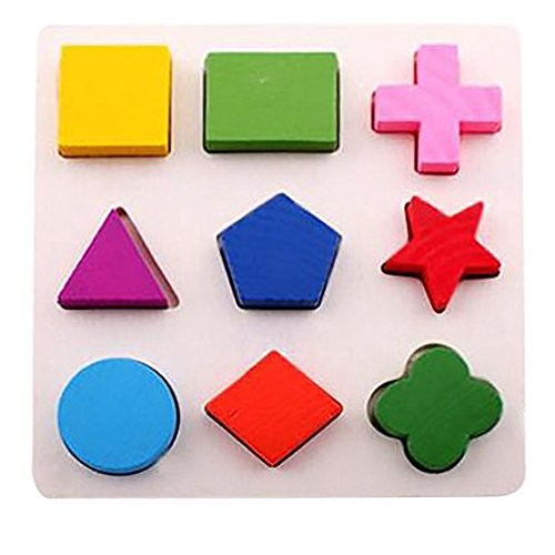 Lingery Kids Baby Wooden Geometry Building Blocks Puzzle Early Learning Educational Toy 151505cm A