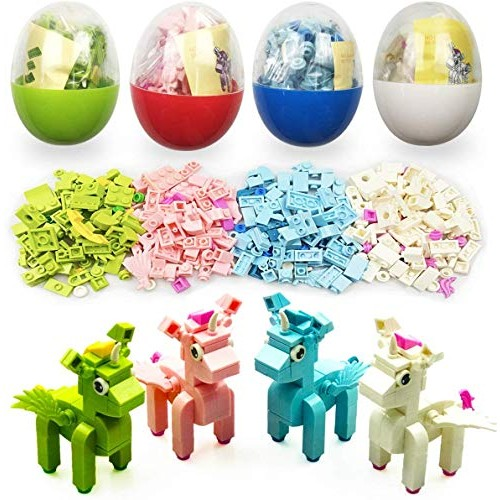 QINGQIU 4 Pack Unique Unicorn Building Blocks Toys in Plastic Easter Eggs for Kids Basket Stuffers Fillers Gifts Party Favors