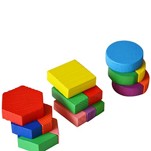 Rmeioel Puzzle Brain Teasers Toy Jigsaw Intelligence Wooden Geometry Building Blocks Early Learning Educational for Kids Baby