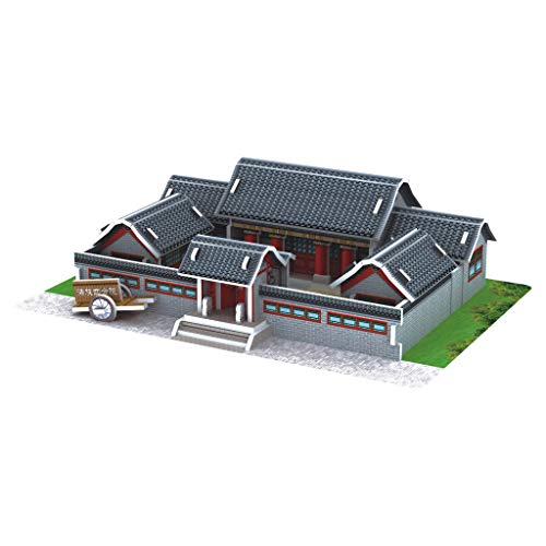 3D Puzzle DIY House Villa Modeling Kits Assembly Craft Toy Pstarts Building Construction Gifts for Kids and Adults Home Decor School Project Easy to Assemble Manchu Quadrangle