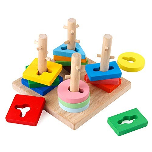Jigsaw Puzzle Toys for Adults 4 Columns Geometric Building Blocks Kids Children Educational Wooden Toyfor 1 2 3 Years Old Boys & Girls