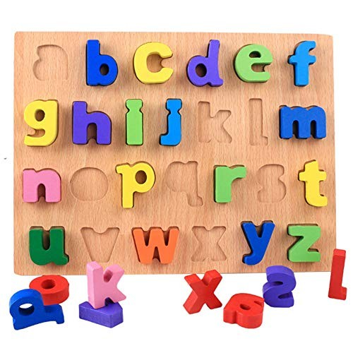 Aoile Wooden Number Figure Alphabet Early Education Puzzle Building Blocks Toy for Children Kids Lower case Letters
