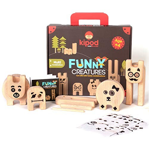 KIPOD Wooden Building Toy Creative Blocks for Kids Arts and Crafts – Multi-Combinations of Funny Creatures Animals to Assemble Fun Stickers Educational Montessori Toys Ages 4-8
