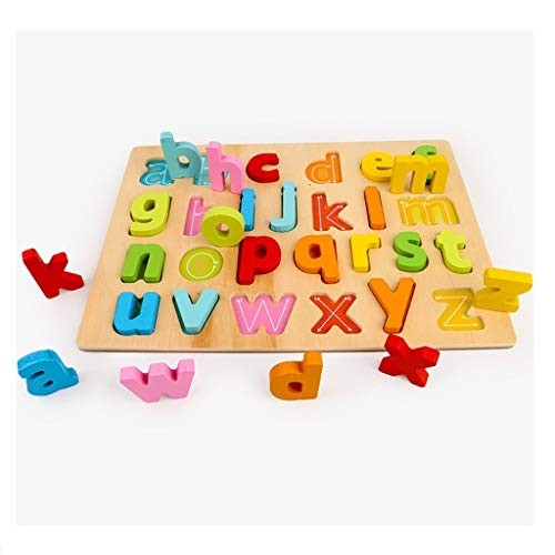 Anyren Children 3D Alphanumeric Letters Grasping Board Enlightenment Scratch Wooden Building Blocks Floor Puzzle Toy Kit C