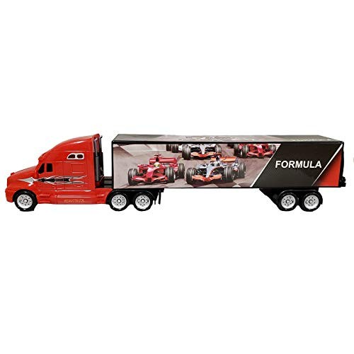 Home and Holiday Shops Red Friction Powered Trailer Truck with Race Car Decals Toy