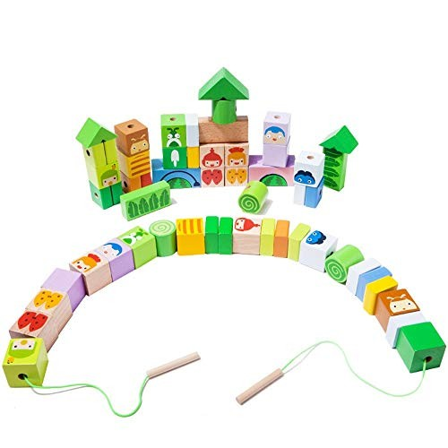 CVEUE Wooden Block Grand Crossing Bead Set for Children stringing Toddlers Education Toy-stringing Large Blocks Educational Toys 34 Children's Building