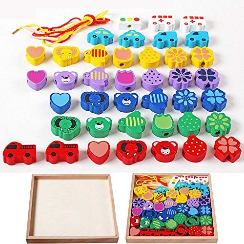 CVEUE Wooden Block Large Lacing Bead Set for KidsBead Stringing Toddlers Educational Toy-Large Blocks 40 Pieces Children's Building