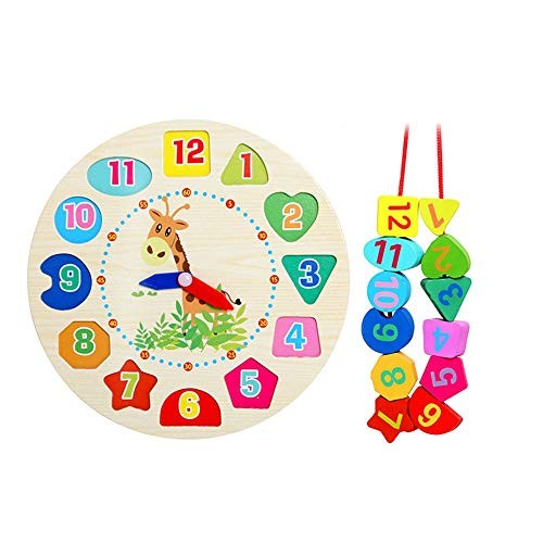 CVEUE Wooden Block Threading Toy Large Lacing Bead Set for KidsBead Stringing Toddlers Educational Toy-Wooden Shape Children's Building Blocks