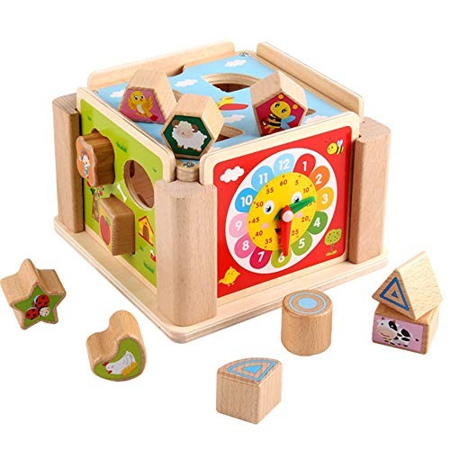 CVEUE Wooden Block Children's Building Blocks Puzzle Shape Pairing Multifunctional Toys Colorful Intelligence Box Ideal for Kids