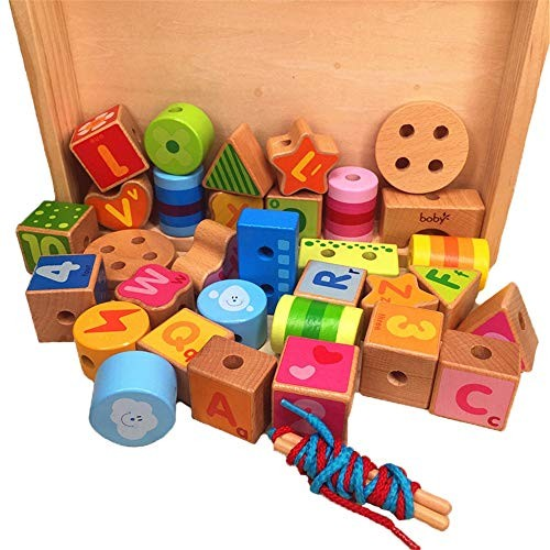 Wooden Block Large Lacing Bead Set for KidsBead Stringing Toddlers Educational Toy-Large Letters Children's Building Blocks Color Multi-Colored Size 21x27x4cm