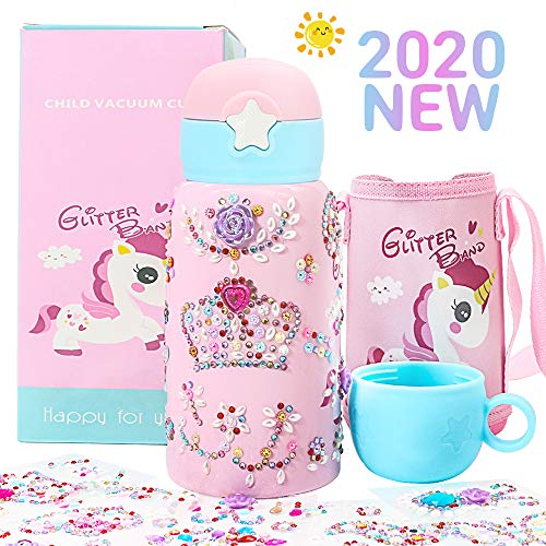 Decorate & Personalize Your Own Water Bottles for Girls with Tons of Rhinestone Glitter Gem Stickers Reusable BPA Free 20 oz Kids Bottle Girl Fun DIY Art and Craft Children