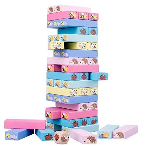 Tekijun Tacking Game Wooden High Piles Building Balance Block Stacked Layers Educational Toys