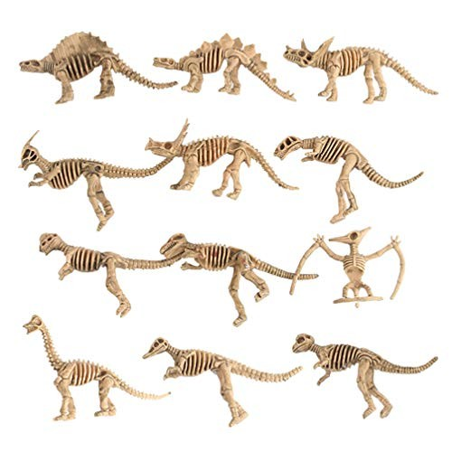 IMIKEYA 12pcs Mini Dinosaur Skeleton Toy Durable Archaeological Excavation Animal Lightweight Table Ornaments for Home Office Living Room Khaki