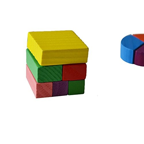 Puzzles Toys for Infant Toddlers Children Wooden Geometry Building Blocks Puzzle Early Learning Educational STEM Toy Age 3-7 Years
