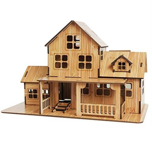 KimBird Wooden Castle Building Blocks Set3D Assembled Toy Educational House Paper PuzzleDIY Construction Developmental Bricks