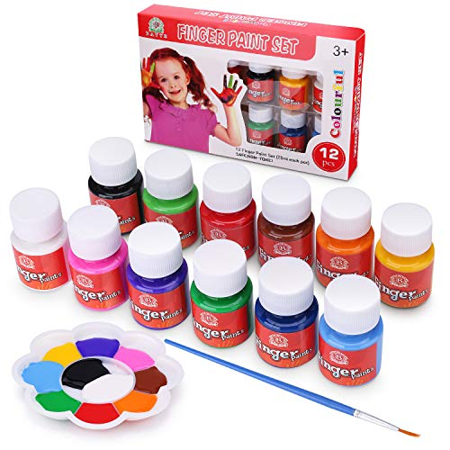 Bearals Finger Paints 12 Colors Non-Toxic Washable Kids Paint Toddler Painting Set for School Party and DIY 12 x 25ml
